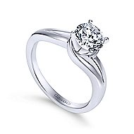 Elise 14k White Gold Round Bypass Engagement Ring angle 3