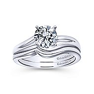 Elise 14k White Gold Round Bypass Engagement Ring angle 4