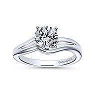 Elise 14k White Gold Round Bypass Engagement Ring angle 5