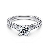 Elle 14k White Gold Round Straight Engagement Ring angle 1