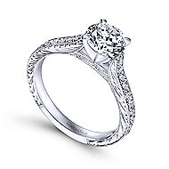 Elle 14k White Gold Round Straight Engagement Ring angle 3