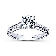 Elle 14k White Gold Round Straight Engagement Ring angle 5