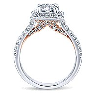 Eloise 14k White And Rose Gold Round Halo Engagement Ring angle 2