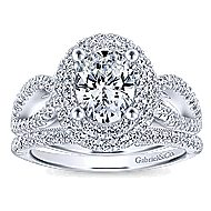 Elspeth 14k White Gold Oval Double Halo Engagement Ring
