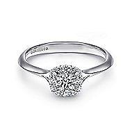 Embrace 14k White Gold Round Halo Engagement Ring angle 1