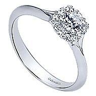 Embrace 14k White Gold Round Halo Engagement Ring angle 3