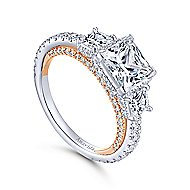 Emily 18k White And Rose Gold Princess Cut 3 Stones Halo Engagement Ring