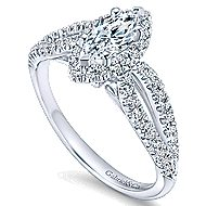 Empress 14k White Gold Marquise  Halo Engagement Ring angle 3