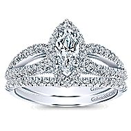 Empress 14k White Gold Marquise  Halo Engagement Ring angle 4