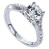 Endless 18k White Gold Round Twisted Engagement Ring angle 3