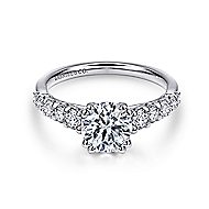 Eniko 18k White Gold Round Straight Engagement Ring angle 1