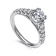 Eniko 18k White Gold Round Straight Engagement Ring angle 3