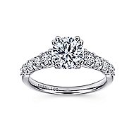 Eniko 18k White Gold Round Straight Engagement Ring angle 5