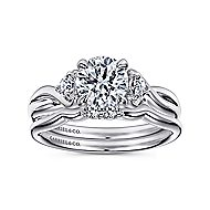 Enlightened 18k White Gold Round Twisted Engagement Ring angle 4