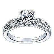 Erin 18k White Gold Round Split Shank Engagement Ring angle 5