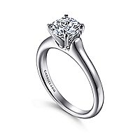 Esme 14k White Gold Round Solitaire Engagement Ring angle 3