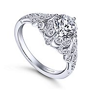 Esmerelda Platinum Round Straight Engagement Ring angle 3