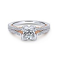 Esperanza 18k White And Rose Gold Princess Cut Split Shank Engagement Ring angle 1
