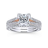 Esperanza 18k White And Rose Gold Princess Cut Split Shank Engagement Ring angle 4