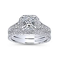 Estelle 14k White Gold Princess Cut Halo Engagement Ring angle 4