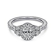 Eudora 14k White Gold Oval Halo Engagement Ring angle 1