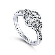 Eudora 14k White Gold Oval Halo Engagement Ring angle 3