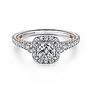 Eva 18k White And Rose Gold Cushion Cut Halo Engagement Ring angle 1