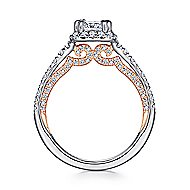 Eva 18k White And Rose Gold Cushion Cut Halo Engagement Ring angle 2