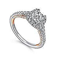 Eva 18k White And Rose Gold Cushion Cut Halo Engagement Ring angle 3
