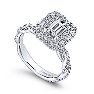 Evangelina 14k White Gold Emerald Cut Double Halo Engagement Ring angle 3