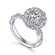 Evangelina 14k White Gold Oval Double Halo Engagement Ring angle 3