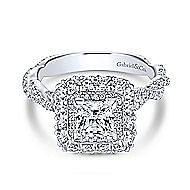 Evangelina 14k White Gold Princess Cut Double Halo Engagement Ring angle 1