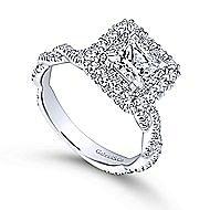 Evangelina 14k White Gold Princess Cut Double Halo Engagement Ring angle 3