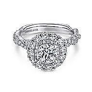 Evangelina 14k White Gold Round Double Halo Engagement Ring