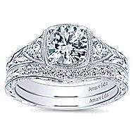 Evangeline Platinum Round 3 Stones Engagement Ring angle 4