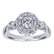 Everlasting 14k White Gold Round Halo Engagement Ring angle 5