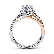 Everly 14k White And Rose Gold Round Bypass Engagement Ring angle 2
