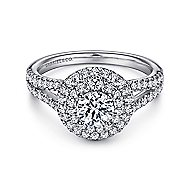 Fannie 14k White Gold Round Double Halo Engagement Ring angle 1