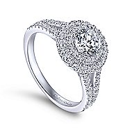 Fannie 14k White Gold Round Double Halo Engagement Ring angle 3