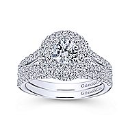 Fannie 14k White Gold Round Double Halo Engagement Ring angle 4