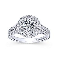 Fannie 14k White Gold Round Double Halo Engagement Ring angle 5