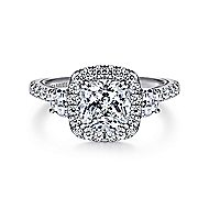 Farah 14k White Gold Cushion Cut 3 Stones Halo Engagement Ring angle 1