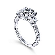 Farah 14k White Gold Cushion Cut 3 Stones Halo Engagement Ring angle 3