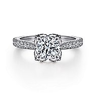 Farrah 14k White Gold Round Straight Engagement Ring angle 1
