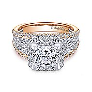 Feline 18k White And Rose Gold Princess Cut Halo Engagement Ring angle 1