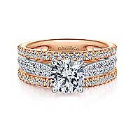 Fiji 18k White And Rose Gold Round Straight Engagement Ring angle 1