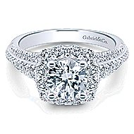 Fleur 14k White Gold Round Halo Engagement Ring angle 1