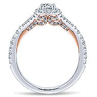 Flow 14k White And Rose Gold Round Halo Engagement Ring angle 2