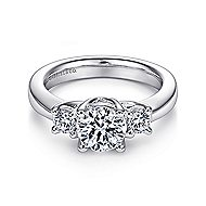 Fortuna 14k White Gold Round 3 Stones Engagement Ring angle 1