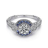 Fortune Platinum Round Halo Engagement Ring angle 1